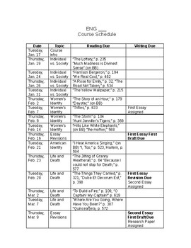Freshman Literature Syllabus Template and Sample Course Schedule