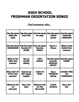 Freshman High School Transition Orientation Bingo *Editable* | School Counselor