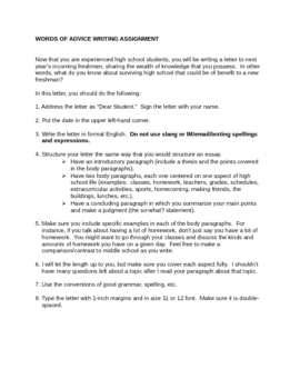 Freshman Words of Advice Writing Assignment