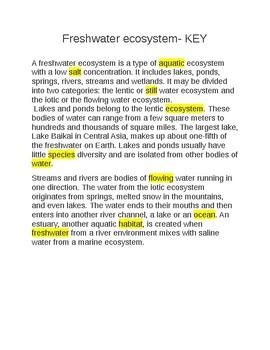 Freshwater Ecosystem --  CLOZE Reading