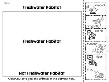 Freshwater Habitat Animals Sorting Activities