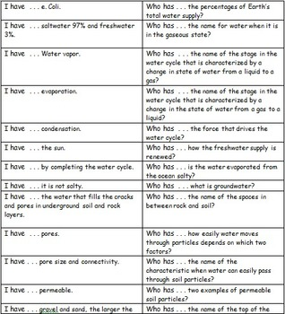 """Freshwater Resources Content - Review Game """"I have . . . ,"""
