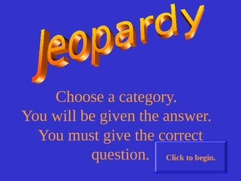 Freshwater Resources - Review Game - Jeopardy