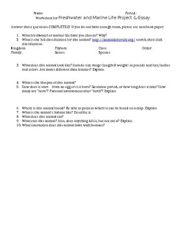 Freshwater or Marine Animal Project Word Document
