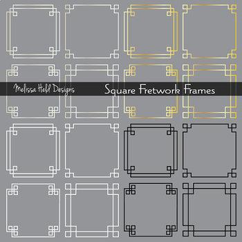 Clipart: Silver Gold Fretwork Frames