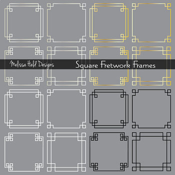 Clipart: Silver Gold Fretwork Frames
