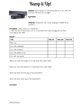 Friction Car Experiment Write-up 5.P.1.1,  5.P.1.4