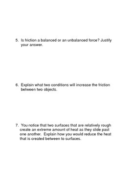 Friction Common Core Reading and Writing Activities