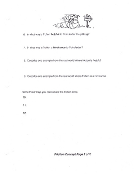 Friction Concept Worksheet (physical science)