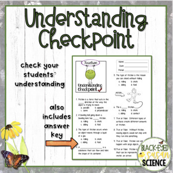 Types of Friction Squiggle Sheets & Understanding Checkpoint [quiz] (NGSS)