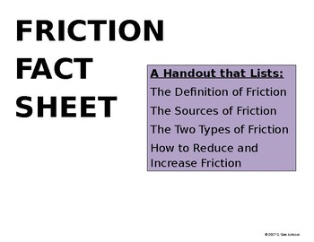 Friction Fact Sheet for Interactive Notebook