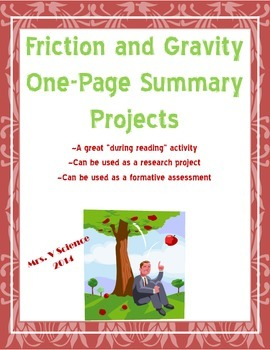 Friction and Gravity One-Pager Assignments