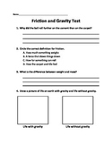 Friction and Gravity Test