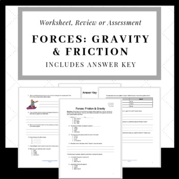 Friction and Gravity Test or Worksheet