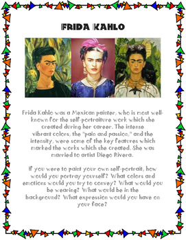 frida kahlo art painting project by profesora canisalez tpt