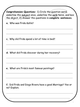 Frida Kahlo Biographical Article and Activities for ESL
