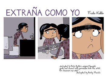 """Frida Kahlo Cartoon """"Extraña como yo"""""""