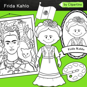 Frida Kahlo Clip art: BW black white