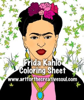 Frida Kahlo Coloring Activity Sheet
