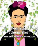 Frida Kahlo Coloring Activity Sheet