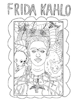 Frida Kahlo Coloring Book Page