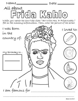 Frida Kahlo Coloring Page Worksheets Teaching Resources Tpt