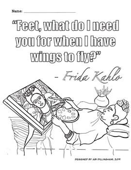 Frida Kahlo Coloring Sheet- Hispanic Heritage Month & Disability Awareness
