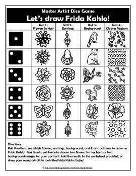 Frida Kahlo Dice Game Sub Plans or Mini Art Lesson