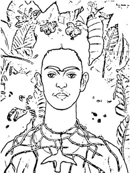 Frida Kahlo FREE Coloring Page by Magic Spells for Teachers TpT