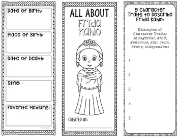 Frida Kahlo - Famous Artist Biography Research Project, Interactive Notebook