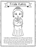 Frida Kahlo, Famous Artist Informational Text Coloring Page Craft or Poster