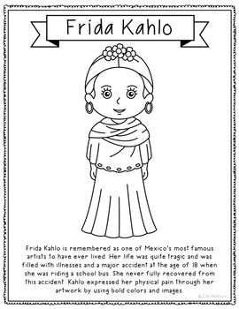 Frida Kahlo Famous Artist Informational Text Coloring Page Craft or