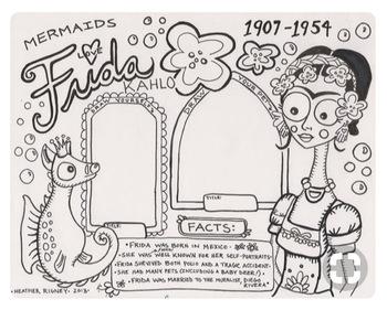 Frida Kahlo Mermaid Coloring Page