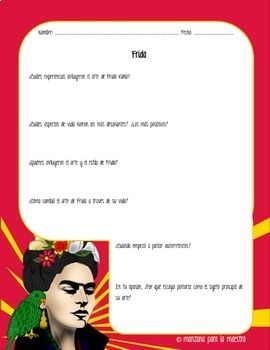 Frida Kahlo Movie Discussion Questions and Rubric - in Spanish
