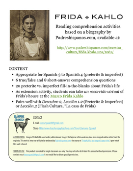 Frida Kahlo: Una biografía - Preterite/Imperfect Spanish Reading Comprehension