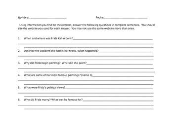 Frida Kahlo Webquest and Student Activities