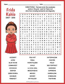 Frida Kahlo Word Search Worksheet