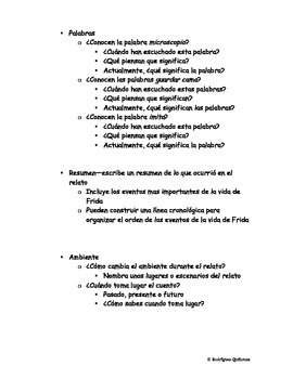 Frida--Literature Circles (SPANISH) Hispanic Heritage Month