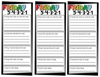 Friday 5-4-3-2-1  Growth Mindset Social Emotional SEL Activity End of Week 54321