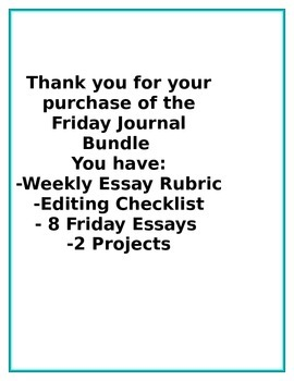 Friday Essay Bundle