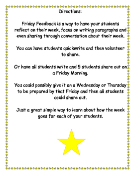 Friday Feedback Weekly Writing Paragraphs & Reflection