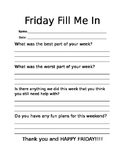 Friday Fill Me In