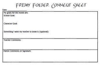 Friday Folder Comment Sheet