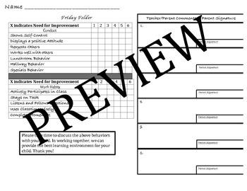 Friday Folder Form (Parent Involvement)