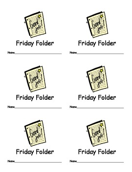 Friday Folder Labels for Classroom Organization Classroom