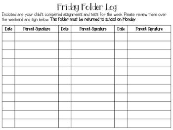 Friday Folder Parent Signature Log FREEBIE