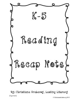 Friday Folder Reading Note  (FREEBIE!)