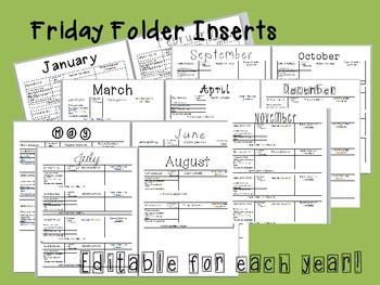 Friday Folder weekly behavior inserts