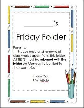 Friday Folder with Behavior Chart/Classroom Work Habits