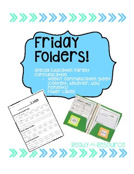 Friday Folders - Parent Communication Sheet and Labels